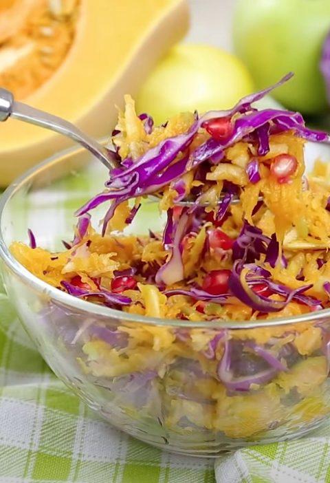 Салат с тыквой и капустой