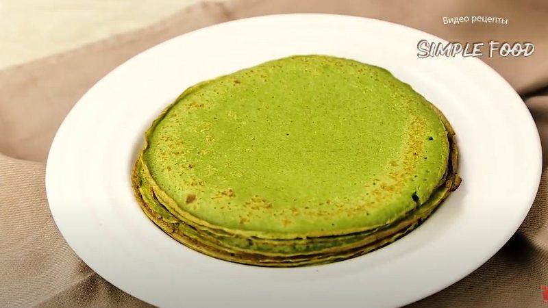 Зелёные блины со шпинатом